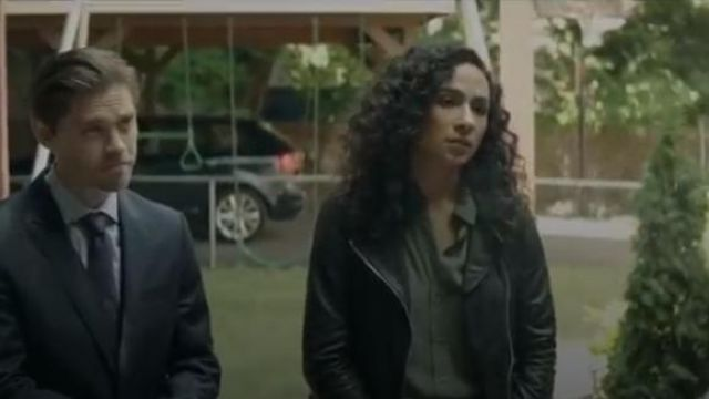 AllSaints Black Dalby Leather Jacket outfit worn by Dani (Aurora Perrineau) in Prodigal Son Season 1 Episode 2 - TV Show Outfits and Products