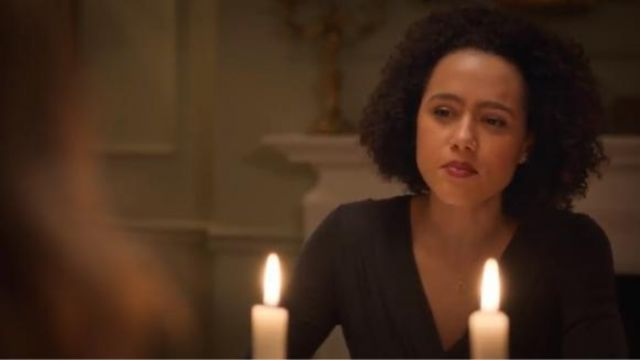 AllSaints black sofia dress outfit worn by Maya (Nathalie Emmanuel) in Four Weddings and a Funeral Season 1 Episode 3 - TV Show Outfits and Products