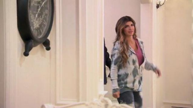 Alo Yoga Gray Tie Dye Hoodie outfit worn by Teresa Giudice in The Real Housewives of New Jersey Season 10 Episode 02 - TV Show Outfits and Products