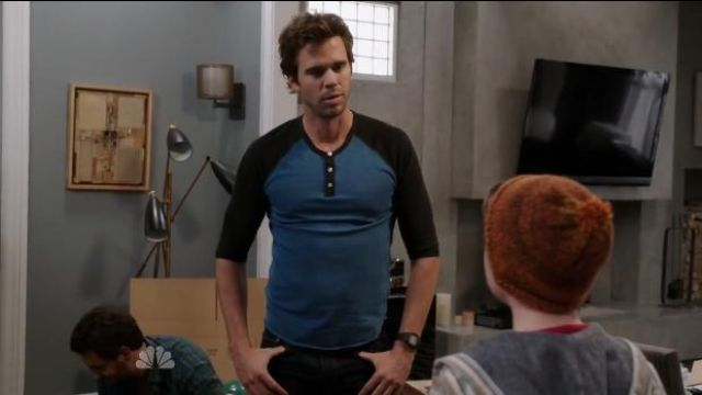 Alternative Apparel 3/4 Raglan Henley in Steel Blue/Black outfit worn by Will (David Walton) in About a Boy (S02E02) - TV Show Outfits and Products