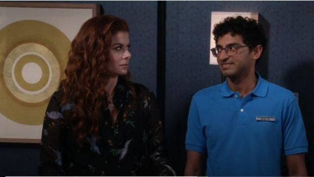Altuzarra Black Bird Print Blouse outfit worn by Grace Adler (Debra Messing) in Will & Grace Season 03 Episode 03 - TV Show Outfits and Products