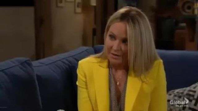 Altuzarra Indiana double-breasted crepe jacket outfit worn by Sharon Collins (Sharon Case) in The Young and the Restless October 7, 2019 - TV Show Outfits and Products