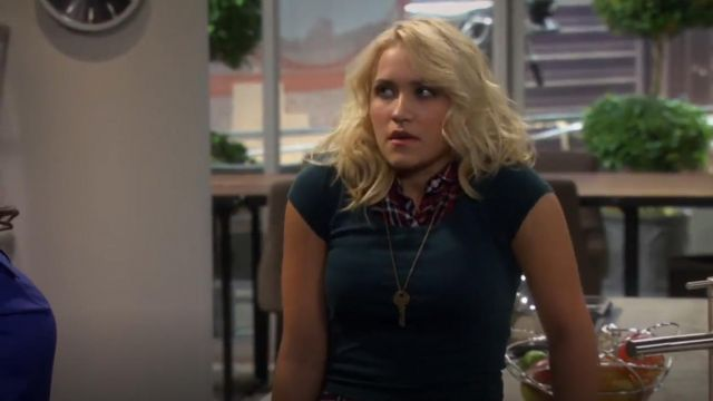 American Apparel Cotton Spandex Jersey Crop Tee outfit worn by Gabi Diamond (Emily Osment) in Young & Hungry (S01E01) - TV Show Outfits and Products