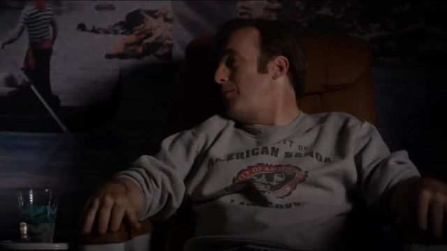 American Samoa Law School Sweatshirt outfit worn by Jimmy McGill (Bob Odenkirk) in Better Call Saul (S01E04) - TV Show Outfits and Products