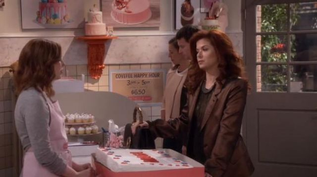 Ann Demeulemeester Metallic Blazer outfit worn by Grace Adler (Debra Messing) in Will & Grace (S01E14) (S01E14) - TV Show Outfits and Products