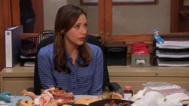 Ann Taylor Polka Dot Perfect Shirt Darted Oxford outfit worn by Ann Perkins (Rashida Jones) in Parks and Recreation (S05E19) - TV Show Outfits and Products