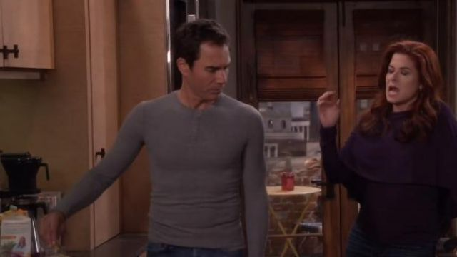 Anthony Thomas Melillo Long Sleeve Rib Henley outfit worn by Will Truman (Eric McCormack) in Will & Grace (S01E16) - TV Show Outfits and Products