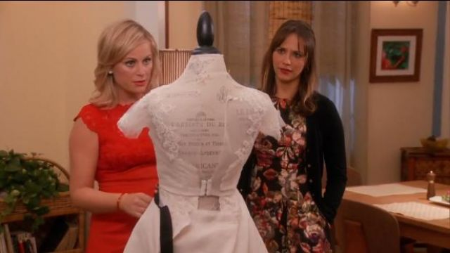 Anthropologie Adelita Brocade Mini Dress outfit worn by Ann Perkins (Rashida Jones) in Parks and Recreation (S05E14) - TV Show Outfits and Products