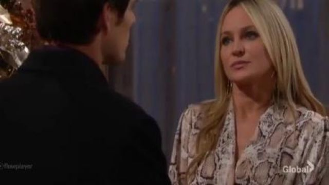 Aqua Twist-Front Top in Tan worn by Sharon Collins (Sharon Case) as seen on The Young and the Restless December 20