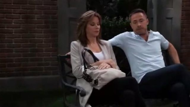 Armani Exchange Studded Bag outfit worn by Alexis Davis (Nancy Lee Grahn) as seen in General Hospital May 16, 2019 - TV Show Outfits and Products