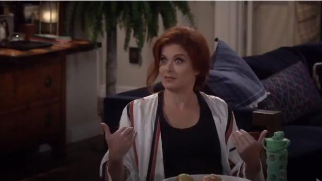 Asceno Bold Stripe Robe outfit worn by Grace Adler (Debra Messing) in Will & Grace (S01E10) - TV Show Outfits and Products