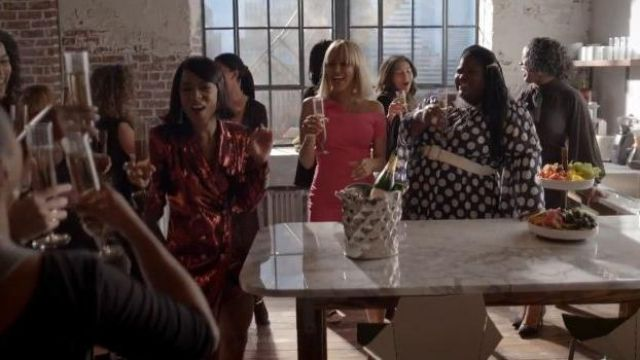 Ashley Stewart Blue Dot Print Dress outfit worn by Becky (Gabourey Sidibe) in Empire Season 06 Episode 05 - TV Show Outfits and Products