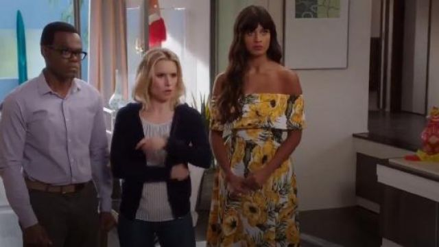 Asos Golden Floral Bardot Midi Dress outfit worn by Tahani Al-Jamil (Jameela Jamil) in The Good Place (S02E03)