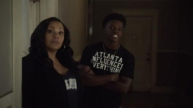 Atlanta influences everything black print t-shirt outfit worn by Malik (Kylen Davis) in Raising Dion Season 1 Episode 2 - TV Show Outfits and Products