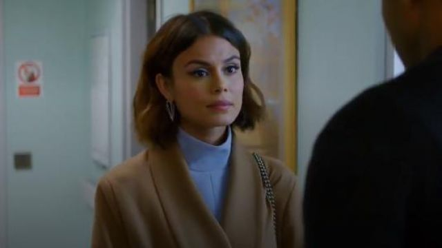 Attico Belted Wrap Coat with Sequin Appliqué outfit seen on Cristal Jennings (Ana Brenda Contreras) in Dynasty (S01E18) - TV Show Outfits and Products