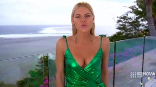 Attico Green Gathered Lurex Wrap Dress outfit worn by Sophie Monk (Sophie Monk) in Love Island Australia Season 2 Episode 1 - TV Show Outfits and Products