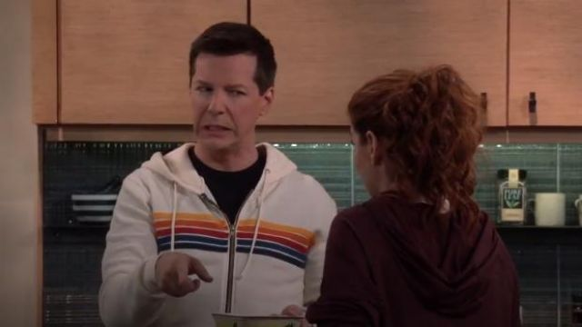 Aviator Nation 5-Stripe Zip Hoodie outfit worn by Jack McFarland (Sean Hayes) in Will & Grace (S02E11) - TV Show Outfits and Products
