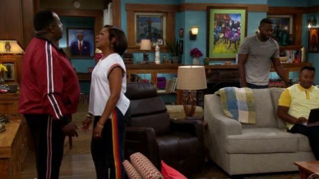 Aviator Nation Navy 5 Stripe Sweatpants outfit worn by Tina (Tichina Arnold) in The Neighborhood Season 02 Episode 03 - TV Show Outfits and Products