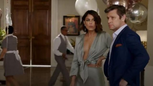 Awaveawake Wind Green Two Tie Blouse outfit seen on Cristal Jennings (Ana Brenda Contreras) in Dynasty (S01E17)