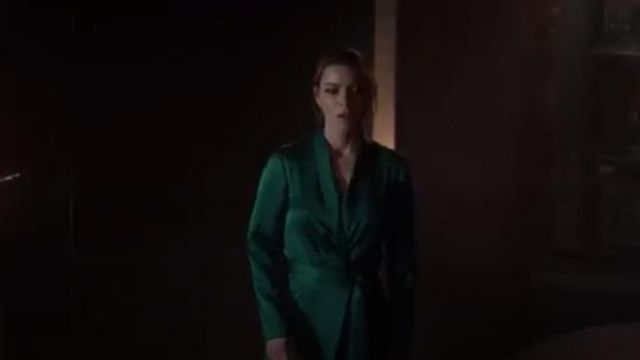 BA&SH Janeiro Satin Wrap Dress outfit worn by Chloe Decker (Lauren German) in Lucifer (S04E09) - TV Show Outfits and Products
