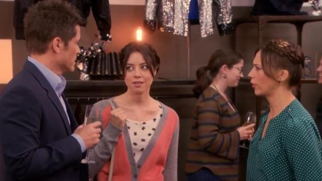 BDG at Urban Outfitters Prep school colorblock cardigan outfit worn by April Ludgate (Aubrey Plaza) in Parks and Recreation (S05E16) - TV Show Outfits and Products