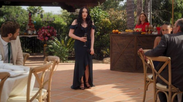 BHLDN Navy Bridesmaid dress outfit worn by Jules (Kat Dennings) in Dollface (S01E10) - TV Show Outfits and Products