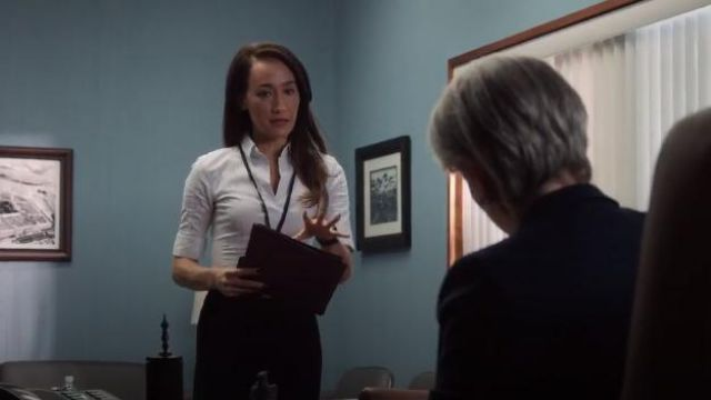 BOSS Bashini 2 Stripe Poplin Fitted Blouse outfit worn by Hannah Wells (Maggie Q) in Designated Survivor (Season 03 Episode 02) - TV Show Outfits and Products