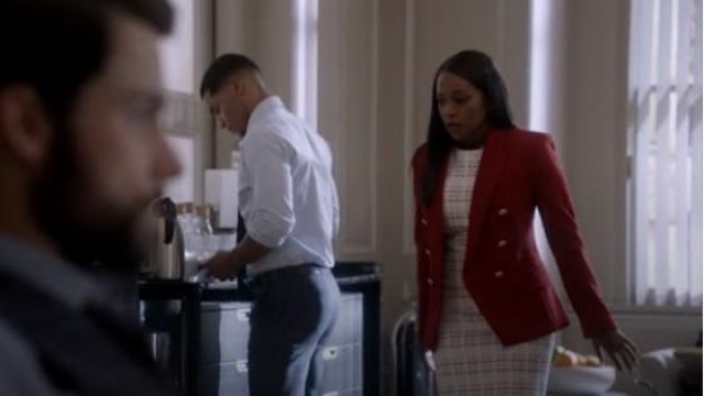 BOSS White Decka Plaid Sheath Dress outfit worn by Michaela Pratt (Aja Naomi King) in How to Get Away with Murder Season 6 Episode 8 - TV Show Outfits and Products
