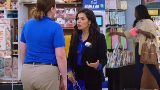 Ba&Sh blue terry shirt outfit worn by Amy (America Ferrera) in Superstore Season 5 Episode 3 - TV Show Outfits and Products