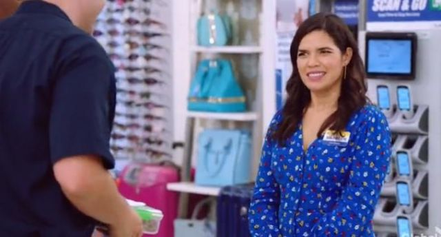 Ba&Sh lali top in azur outfit worn by Amy (America Ferrera) in Superstore Season 5 Episode 2 - TV Show Outfits and Products
