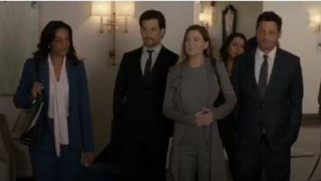Badgely mischka Trench Coat outfit worn by in Grey's Anatomy Season 16 Episode 08 Dr. Meredith Grey (Ellen Pompeo) Grey's Anatomy (S16E08) - TV Show Outfits and Products