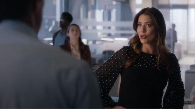 Badgley Mischka Collection Embellished Sleeve Sheath Dress outfit worn by Andrea Rojas (Julie Gonazlo) in Supergirl Season 05 Episode 05 - TV Show Outfits and Products