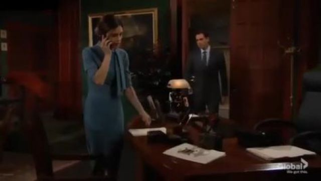 Badgley Mischka tie neck fitted midi dress outfit worn by Victoria Newman (Amelia Heinle) in The Young and the Restless October 7, 2019 - TV Show Outfits and Products