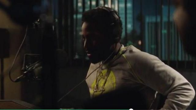 Balmain Grey and Neon Yellow Balmain Logo Sweater outfit worn by Ricky Jerret (John David Washington) in Ballers Season 05 Episode 06 - TV Show Outfits and Products