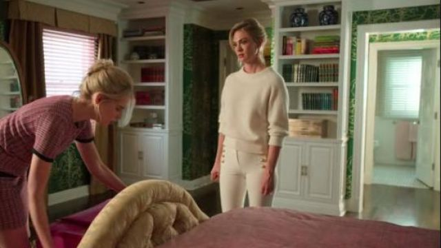 Balmain White Button-embellished high-rise skinny jeans outfit worn by Astrid's Mom (January Jones) in The Politician Season 1 Episode 7 - TV Show Outfits and Products