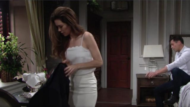 Banana Republic Petite Scallop Edge Cami Top outfit worn by Victoria Newman (Amelia Heinle) as seen in The Young and the Restless May 2019 - TV Show Outfits and Products