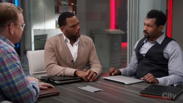 Barneys New York Cashmere V Neck Cardigan outfit worn by Andre 'Dre' Johnson (Anthony Anderson) in black-ish (S03E03) - TV Show Outfits and Products