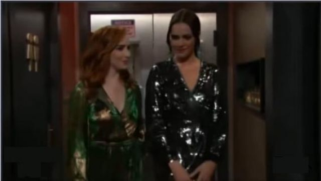 Ba&sh Green and Gold Maxi Dress outfit worn by Mariah Copeland (Camryn Grimes) as seen on The Young and the Restless November 6, 2019 - TV Show Outfits and Products
