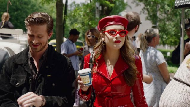 Beret in red leather Eugenia Kim outfit worn by Fallon Carrington (Elizabeth Gillies) seen in Dynasty Season 2 Episode 2 - TV Show Outfits and Products
