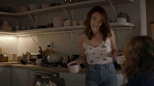 Bernadette white silk floral blouse camisole outfit worn by Cara Bloom (Violett Beane) in God Friended Me Season 02 Episode 03 - TV Show Outfits and Products