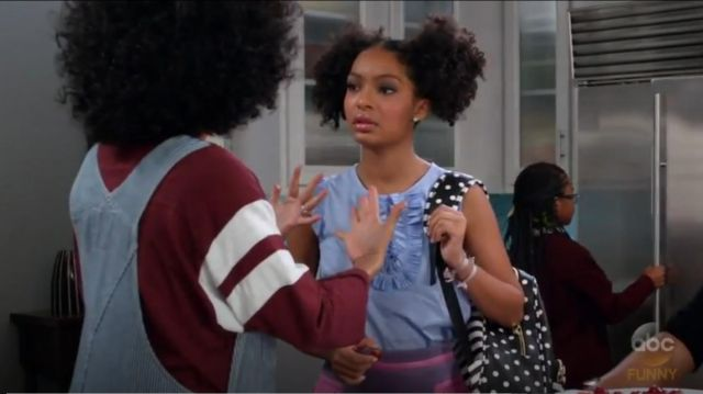 Betsey Johnson Large Bow Backpack outfit worn by Zoey Johnson (Yara Shahidi) in black-ish (Season 03 Episode 16) - TV Show Outfits and Products