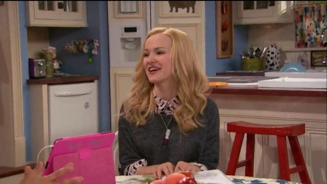 Betsey Johnson Rhodium-Plated Glitter Lipstick Pendant Necklace outfit seen on Liv Rooney (Dove Cameron) in Liv and Maddie (S02E10) - TV Show Outfits and Products