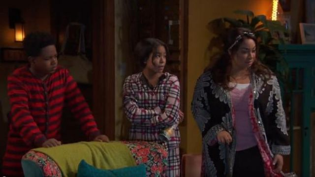 Betsey Johnson Two-piece Heart & Plaid Pajama Set outfit worn by Navia Robinson in Raven's Home (S03E01) - TV Show Outfits and Products