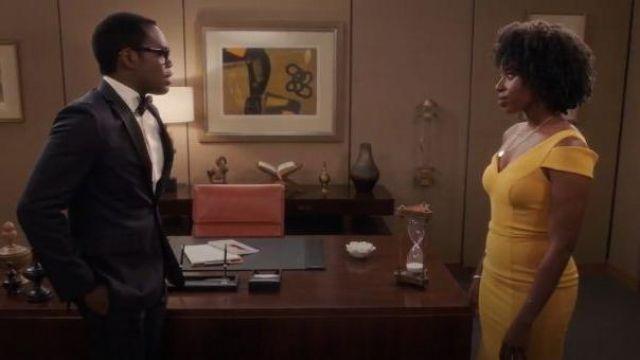 Betsy & Adam Yellow One Shoulder Cut Out Gown outfit worn by Simone Garnett (Kirby Howell-Baptiste) in The Good Place Season 04 Episode 07 - TV Show Outfits and Products