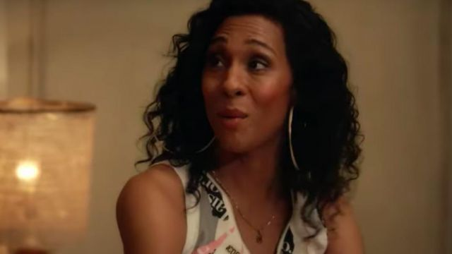 Big golden hoop earnings outfit worn by Blanca Rodriguez (Mj Rodriguez) in Pose Season 2 - TV Show Outfits and Products