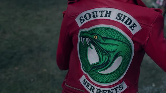 Biker jacket red Southside Serpents of Cheryl Blossom (Madelaine Petsch) seen in Riverdale Season 2E22 - TV Show Outfits and Products