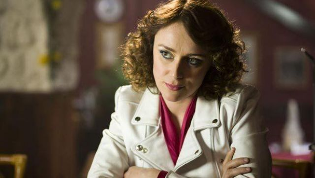 Fashion Trends 2021: Biker jacket white Alex Drake (Keeley Hawes) seen in Ashes to Ashes