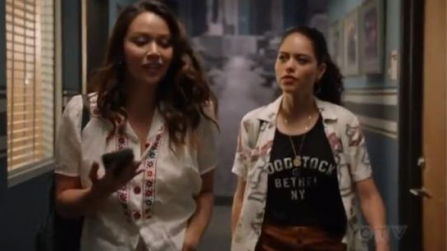 Black Label Vintage woodstock bethel New York distressed Tee outfit worn by Angela Lopez (Alyssa Diaz) in The Rookie Season 2 Episode 2 - TV Show Outfits and Products