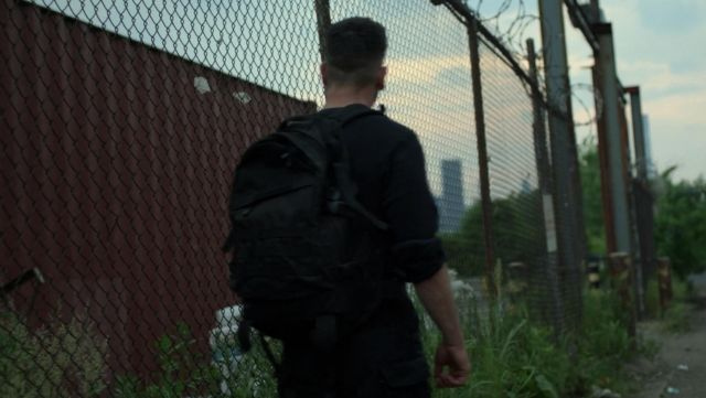 Fashion Trends 2021: Black Tactical Backpack outfit seen on Frank Castle (Jon Bernthal) in Marvel's The Punisher S02E10
