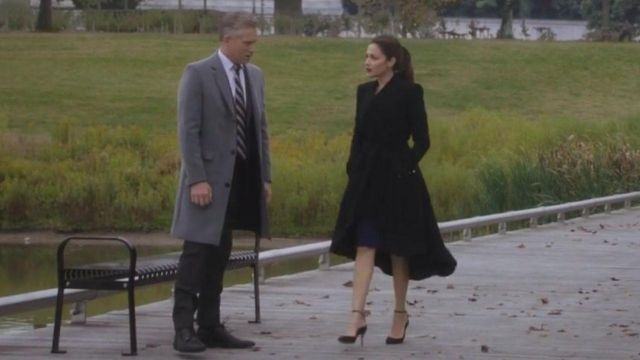 Black Trench Coat Outfit Worn By Emily Rhodes Italia Ricci As Seen In Designated Survivor S02e09 Tv Show,Best Film Production Design